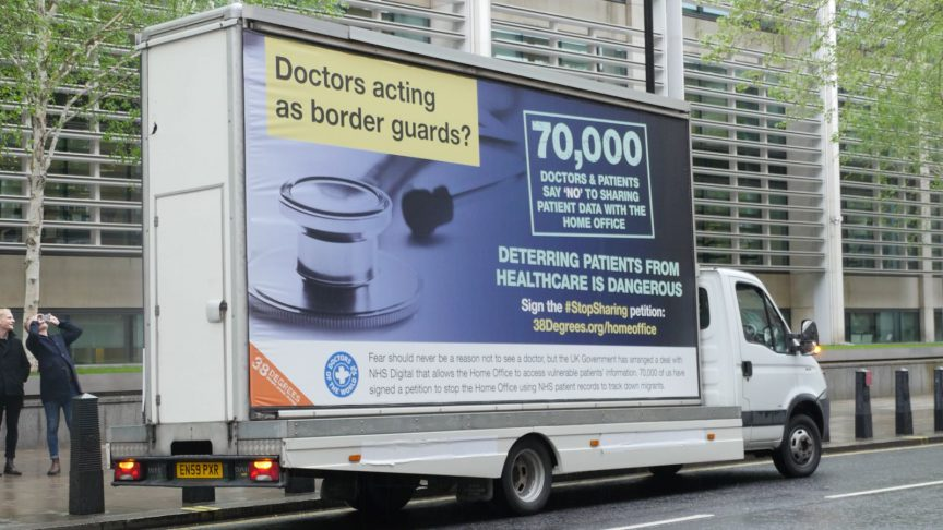 Doctors Send Spoof 'Go Home' Van Around Westminster to Protest the
