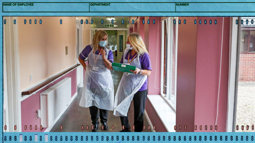 two care home workers wearing ppe