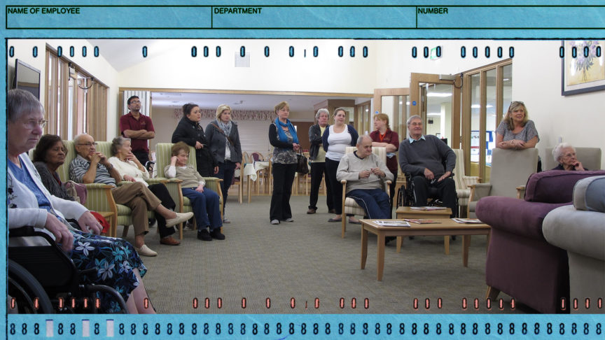 Residents and their families in an elderly care home.