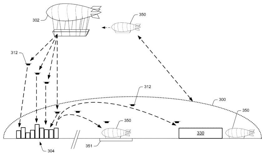 A design for an airborne warehouse using drones to deliver orders.