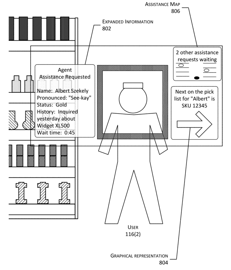 Information about a worker presented to a supervisor via augmented reality glasses.