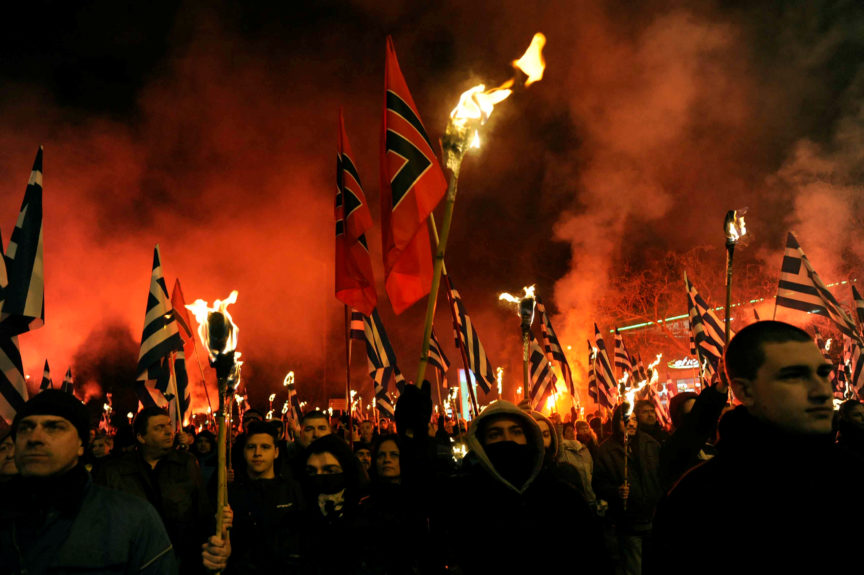 A rally of Golden Dawn supporters.