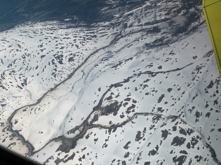 Aerial view of Øyfjellet Wind Park.