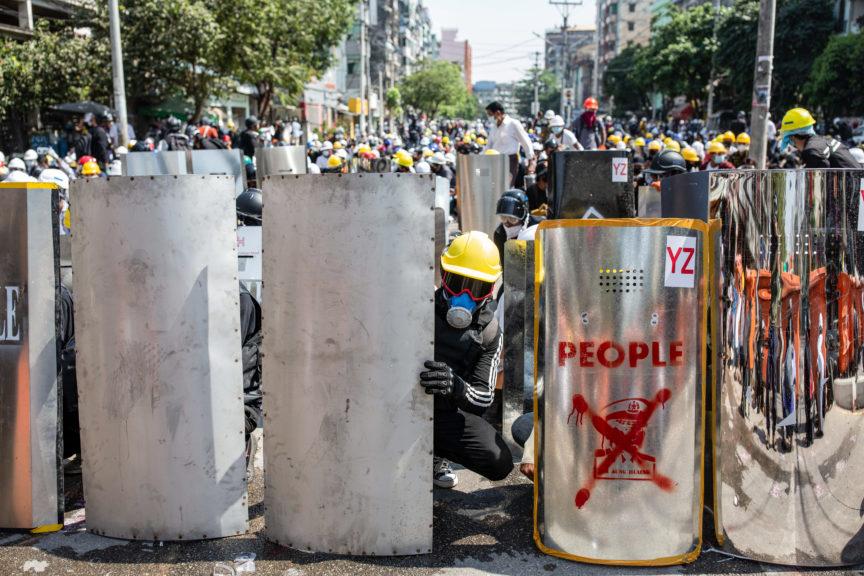 Striking workers in Myanmar