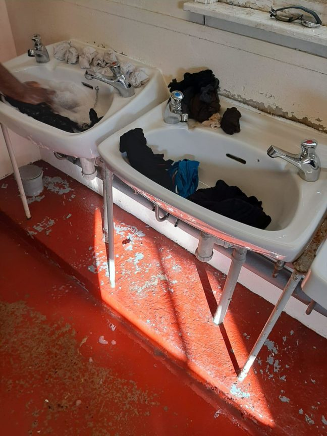 washing sink Clearsprings migrants asylum seekers