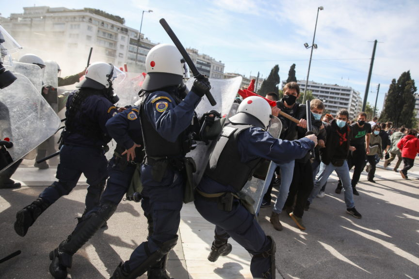 Greek university students clash with riot police in Athens, Greece