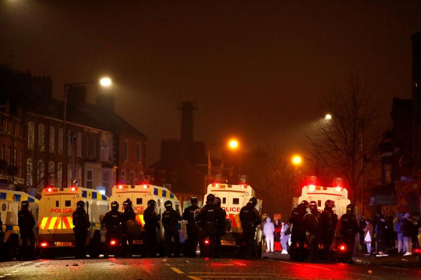 Police officers during a riot at Lanark Way, Belfast,April 2021. Jason Cairnduff/Reuters