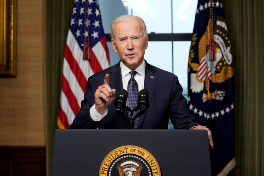 Joe Biden delivers remarks on his plan to withdraw American troops from Afghanistan, April 2021. Andrew Harnik/Reuters