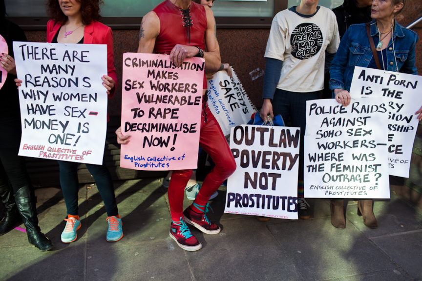 A protest against the criminalisation of sex work.