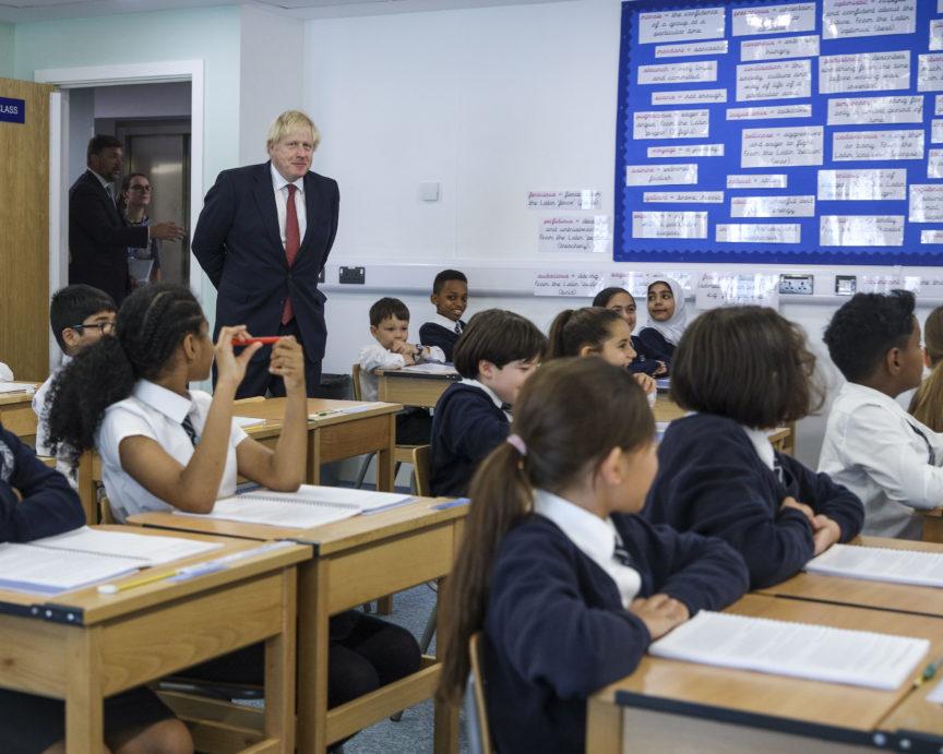 Boris Johnson visits a school in Pimlico