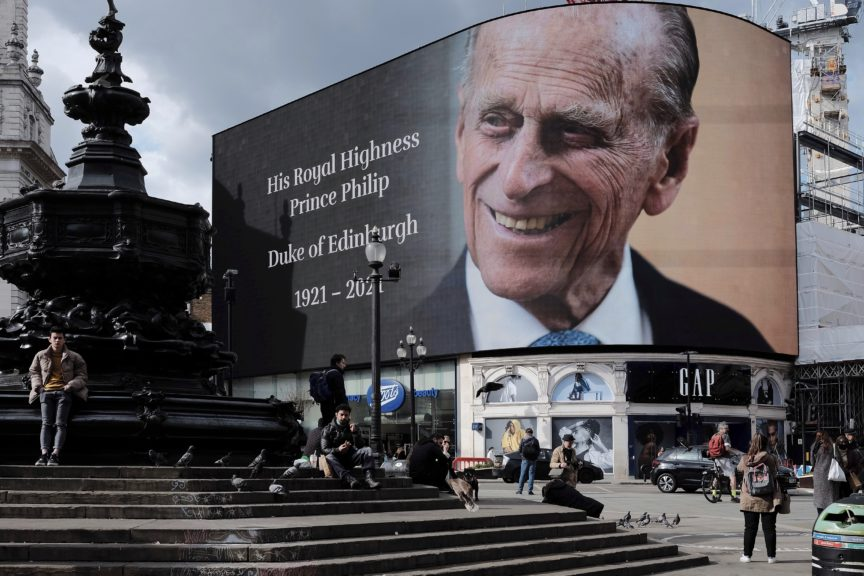 A billboard at Piccadilly Circus pays tribute to the late Prince Philip. Garry Knight/Flickr