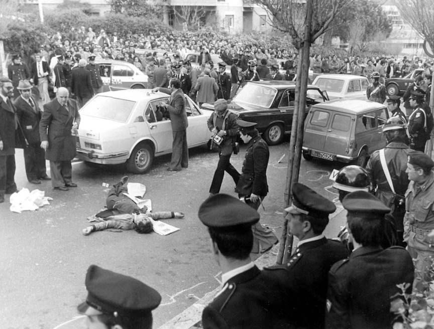 Moments after the kidnapping of former Italian prime minister Aldo Moro by the Red Brigades in Rome, 1978.