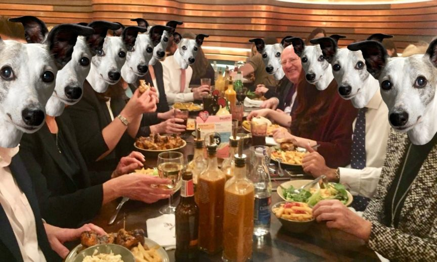 A photograph of the members of former political party Change UK at a restaurant, with whippets' faces superimposed onto theirs.