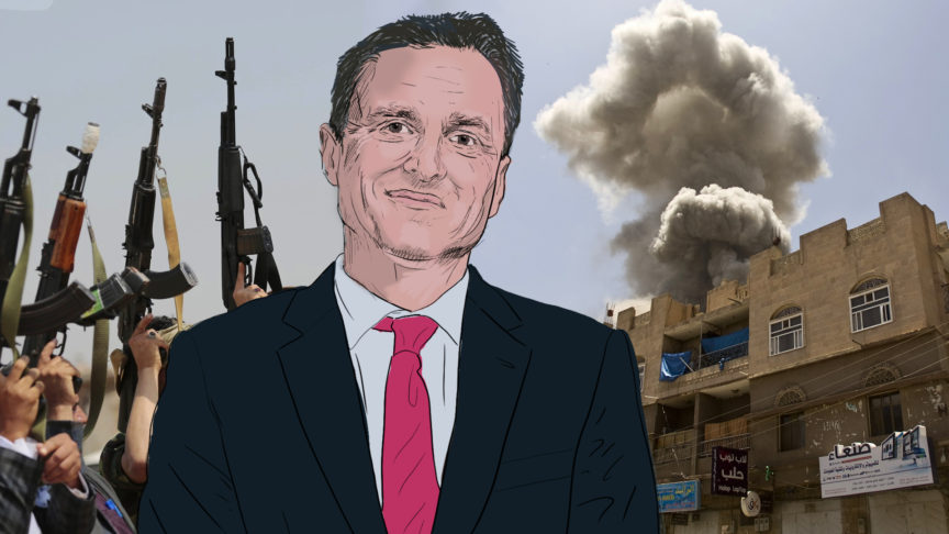 A drawing of Paul Williams in front of an image from the war in Yemen.