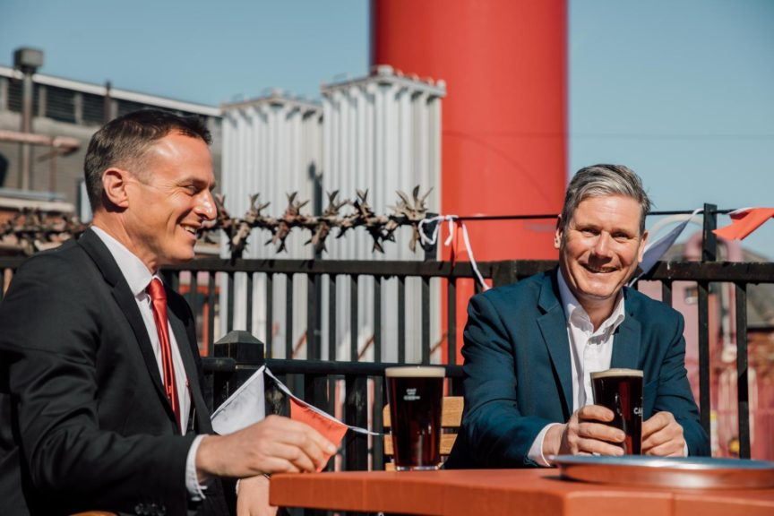 Labour leader Keir Starmer having a pint of Guinness with Hartlepool by-election candidate Paul Williams