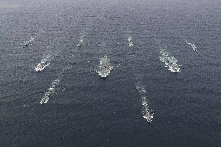 The full UK Carrier Strike Group assembled at sea. Official US Navy Imagery/Flickr
