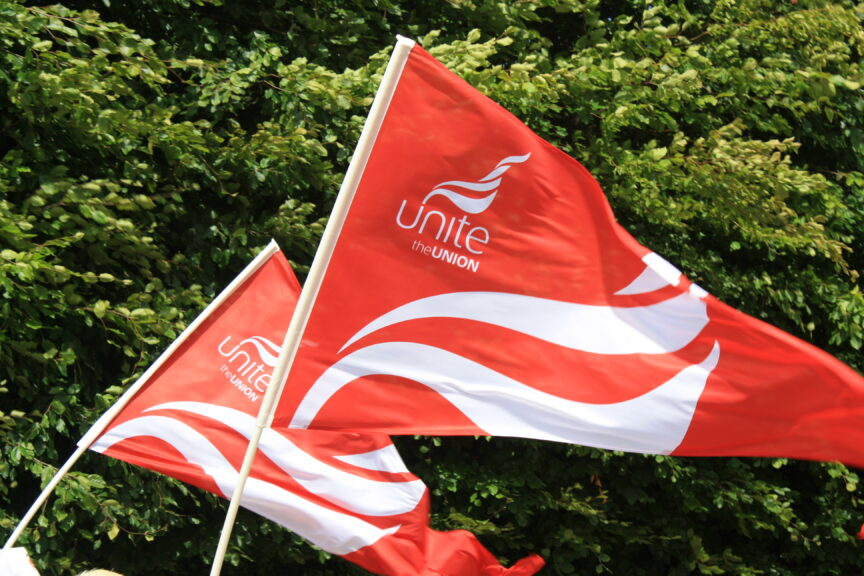 A picture of flags bearing Unite's red and white logo against a background of trees.