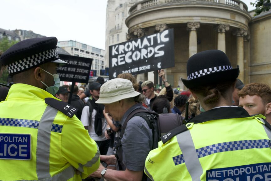 Police at Save Our Scene's rave protest