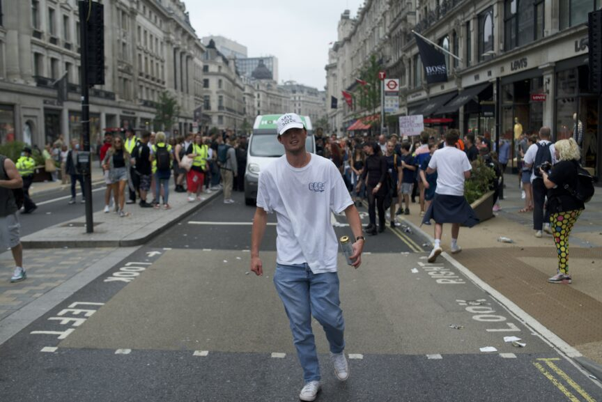 A man in a hat at London's save our scene rave protest