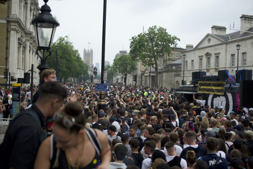 The large crowd at London's save our scene rave prrotest