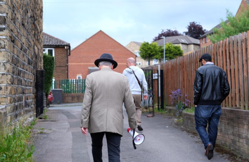 George Galloway campaigning in Batley.