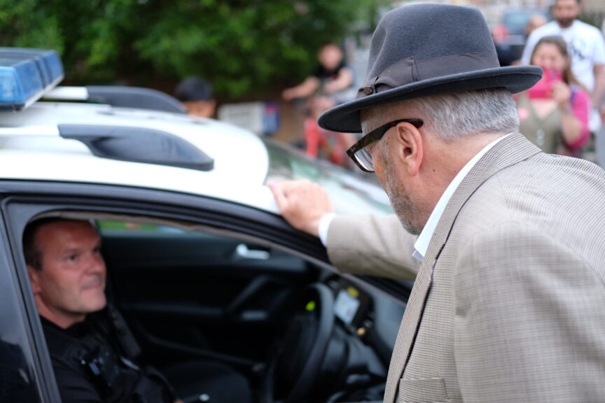 Galloway speaks to police.