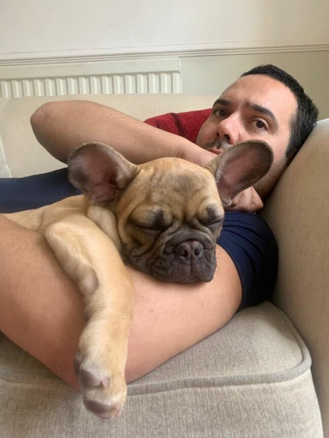 Aaron Bastani and his dog Gino