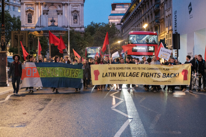 A protest for Latin Village.