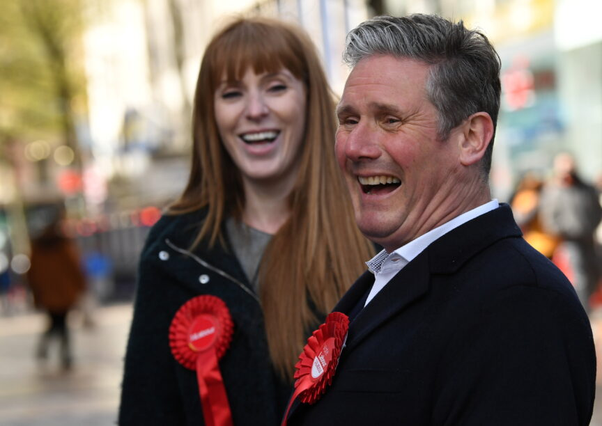 Labour Party leader Keir Starmer laughs with deputy party leader Angela Rayner whilst on the election campaign trail in Birmingham.