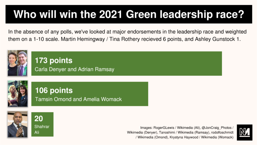 A bar graph indicating the value of various Green party leadership candidates' endorsements