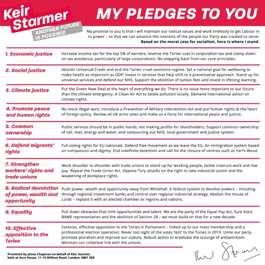 Starmer's ten pledges