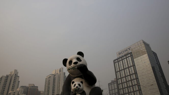 A panda station amid smog in Beijing