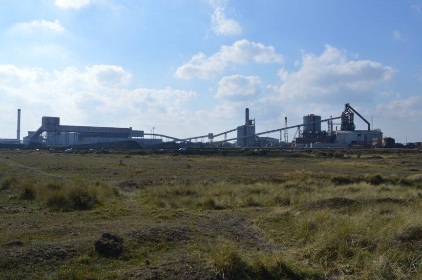 Teesside's last blast furnace, where demolition has begun.