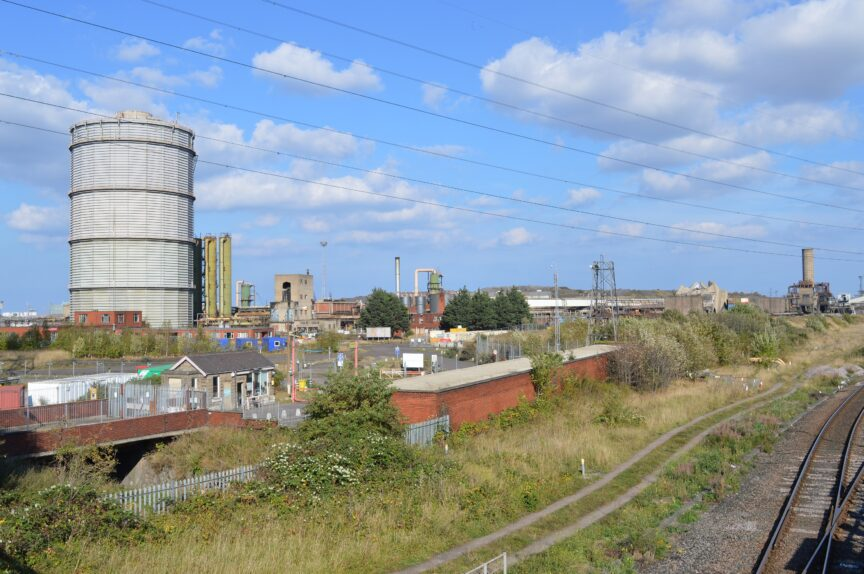 A mothballed industrial site seen from South Bank railway bridge. Until the recently, the Dorman Long tower would have been seen in the centre of the view.