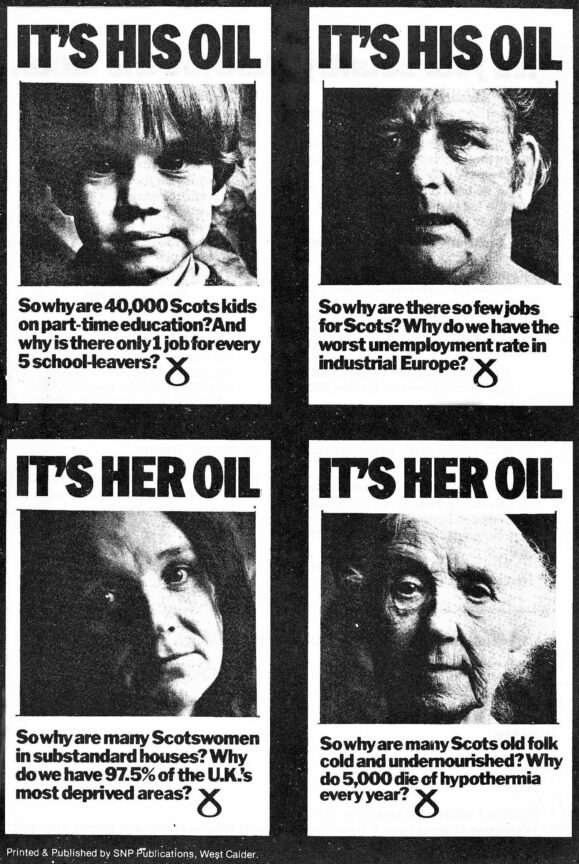 """Leaflet from the SNP's 1972 """"It's Scotlands Oil"""" campaign, quoted in-text."""